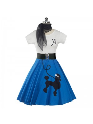 Retro Poodle Print High Waist Dress Blue