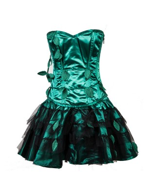 Retro Steel Boned Overbust Strapless Green Leaf Bustier Corset with Skirt CF8083_01