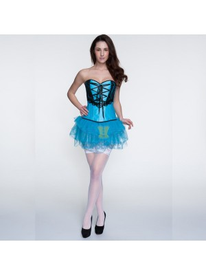 Ribbon Lacing Criss Cross Lace Overlay Corsets and Blue Tutu CF6817