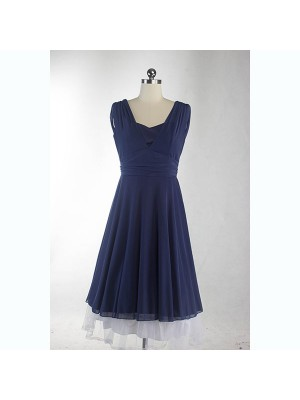 Rockabilly Pinup Sleeveless Vintage Evening Party Classy Blue Swing Dress CF1279_01
