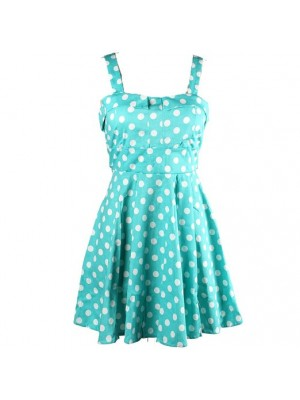 d28060cba7d7e5 Rockabilly Polka Dots Vintage Retro Audrey Hepburn 1950s Swing DressCF1219.  black  blue  yellow