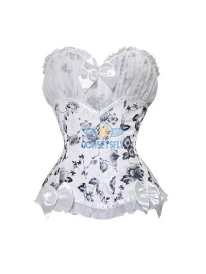 Ruffle Trim Lace Overlay Floral Print White Strapless Overbust Corset CF5035 White
