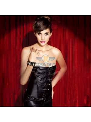 Sexy Black Faux Leather Punk Chain Embellishments Over Bust Corset CF5308