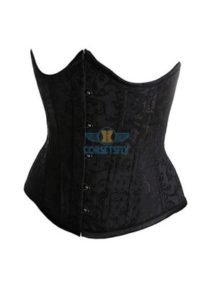 Sexy Classic Fashion Flower Tapestry Brocade Cinching Underbust Strapless Corset CF7517 Black