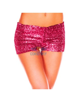 Sexy Hot Womens Glamorous Polyester Costume Accessories Sequin Booty Shorts CF6501 Rose