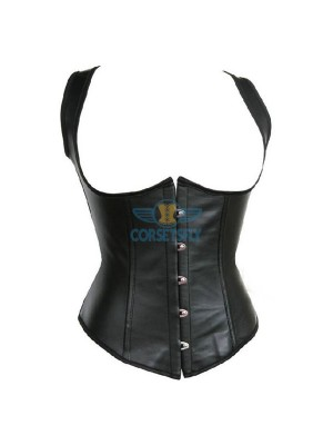 Sexy Lace Up Leather Steel Boned Underbust Waist Cincher Corset CF7244