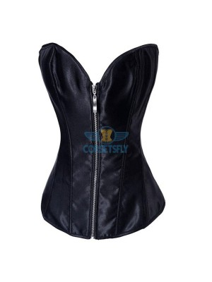 Sexy Style Romantic Love Zipper Push Up Black Corset Bustier CF7080 Black