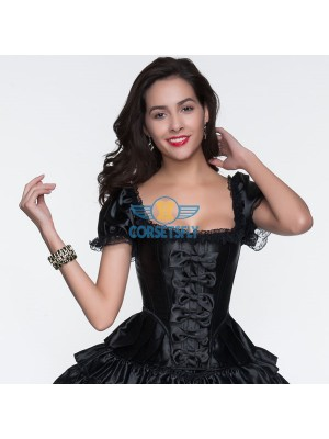 Six Bowknot Front Lace Sleeves Ruffle Trim Black Overbust Corset CF5055 Black