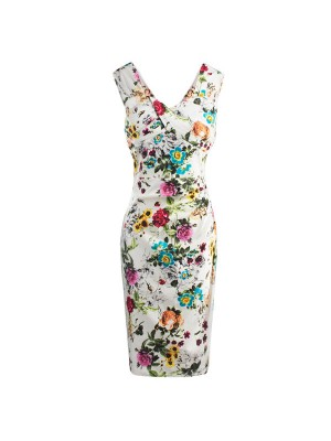 Sleeveless Rockabilly 1950s Floral Print Bodycon Vintage Sheath Pencil Dress CF1243_01