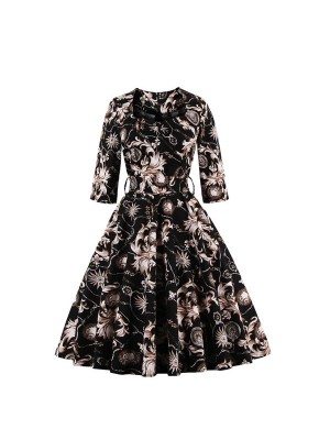 Square Neckline Vintage Rockabilly Casual Party Swing Dress with Belt CF1448 Black_01
