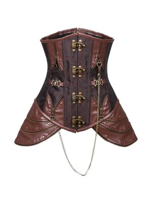 Steampunk Faux Leather Steel Boned Bustier Underbust Brown Corset CF8043_01
