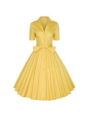 V-Neck Vintage Rockabilly Classy Swing Short Sleeve Yellow Evening Party Dress CF1502_01