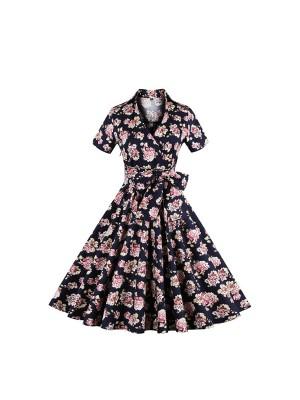 Vintage 1950s Rockabilly Audrey Hepburn Swing V Neck Cocktail Party Dress CF1383_01