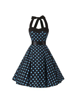 45f34683950405 2017 Vintage 1950s Rockabilly Polka Dots Audrey Halter Dress ...