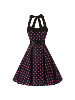 Vintage 1950s Rockabilly Polka Dots Audrey Halter Dress Retro Cocktail Dress CF1012 Red