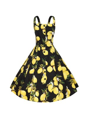 Vintage Lemon Floral Strappy Rockabilly Cocktail Audrey Hepburn Pinup Swing Dress CF1514 Black_01
