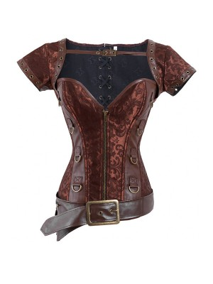 Vintage Victorian Retro Goth Steel Boned Brocade Steampunk Warrior Corset CF8005 Coffee_01