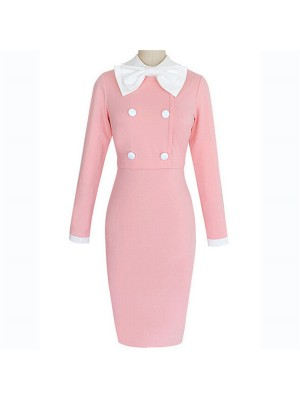 Voguish Pink Bow Collar Long Sleeve Casual Fitted Pencil Dresses CF1624 _01