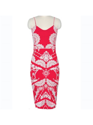 Voguish Sweetheart Neck Sling Floral Flower Print Bodycon Pencil Dresses CF1617 Red_01