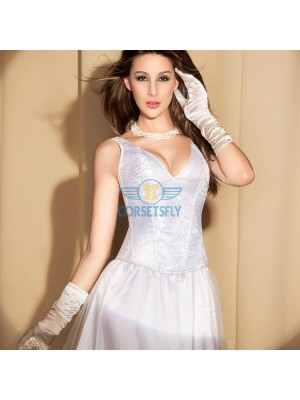 Weeding Bridal Deep V Neck Embroidery pattern Corset with Wide Strap CF5144 White