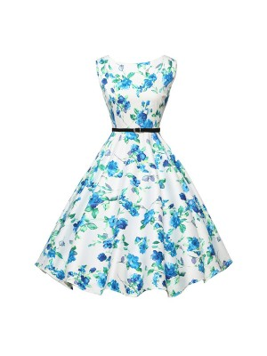 Women 1950s Floral Sleeveless Swing Vintage Retro Party Picnic Dress CF1201 blue