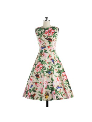 Women 1950s Floral Swing Vintage Retro Spring Garden Picnic Dress CF1202 red flower