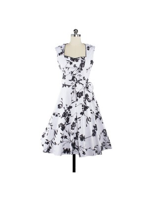 Women 1950s Floral  Swing Vintage Rockabilly Garden Party Tea Dress CF1204 black white