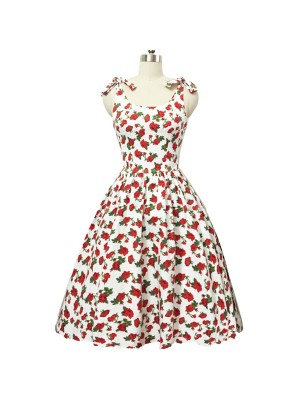 Women 1950s Hater Dots Floral Rockabillty Sleeveless Cocktail Picnic Dress CF1420 red white floral