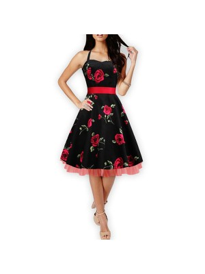Women 1950s Hater Floral Rockabillty Sleeveless With Belt Party Dress CF1413 red black
