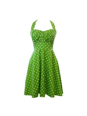 Women 1950s Retro Rockabillty Hater Sleeveless Dots Garden Ball Dress CF1403 green