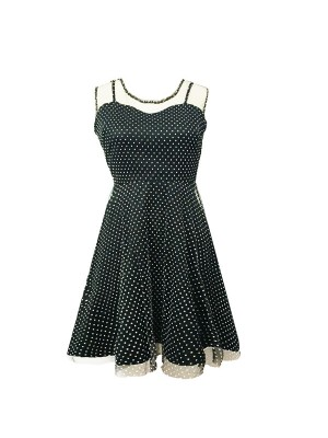 Women 1950s Retro Rockabillty Sleeveless Tea Picnic Plus Size Dress CF1360 black