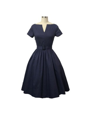 Women 1950s Short Sleeve With Belt BallPlus Size Dress CF1364 blue