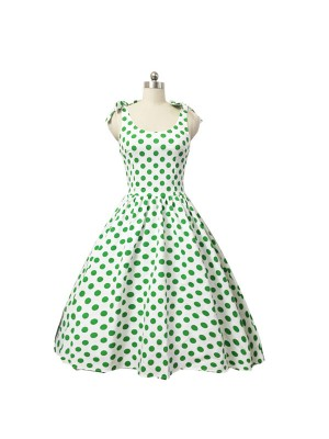 Women 1950s Swing Dots Floral Rockabillty  Sleeveless Tea Ball Dress CF1421 green