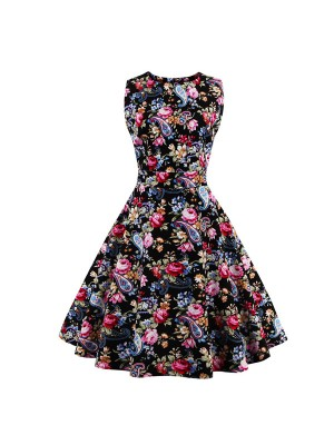Women 1950s Swing Floral Vintage Rockabillty Party Plus Size Dress CF1379 red flower