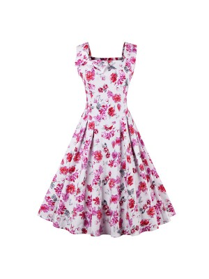 Women 1950s Swing Retro Floral Vintage Sleeveless Ball Party Dress CF1427