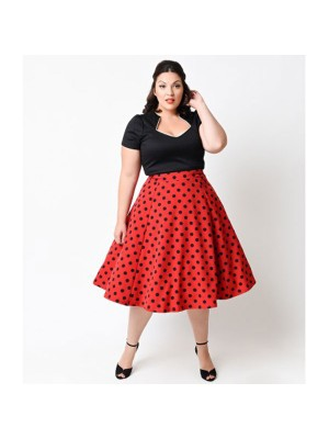 Women 1950s Swing Retro Picnic Polka Dot Plus Size Dress CF1357 black red