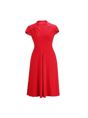 Women's 1950s Retro Vintage V-neck Cap Sleeve Party Swing Dress Red