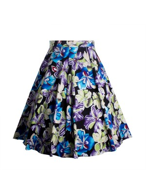 Women's 50s Rockabilly Floral High Waist A Line Pleated Full Midi Skirt blue flower_01
