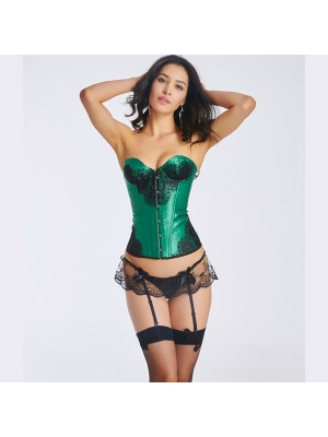 Women's Beautiful Floral Lace Overlay Lace Up Strapless satin Corset CF6004 green
