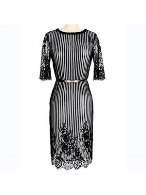 Women's Crewneck Striped Lace Half Sleeve Midi Fitted Pencil Dresses CF1620 White_01