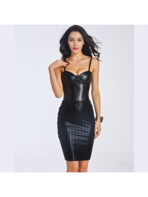 Women's Fashion Sexy Black Leather Corset Dress With Back Zipper CF6038 black