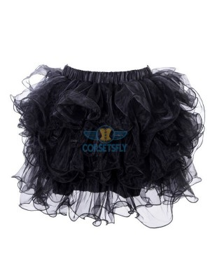 Women's Girl Short Black Organiza Mesh Rockabilly Tulle Tutu CF6516
