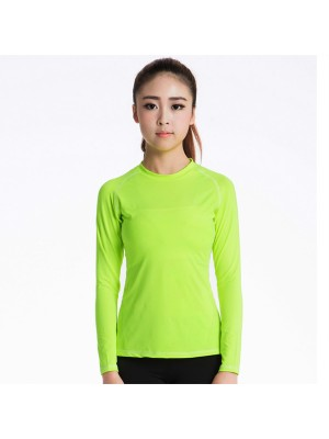 Women's Long Sleeve Fit Elastic Athletic Compression Shirt CF2238 green