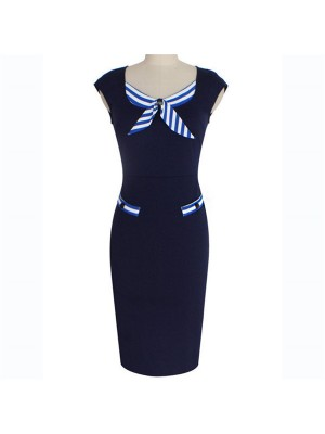 Women's Retro Cap Sleeve Striped Office Fitted Bodycon Pencil Dresses CF1619 Navy_01