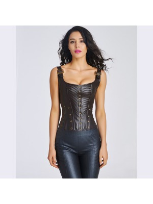 Women's Sexy Faux Leather Bustier Corset With Lace Up Back CF6022 black