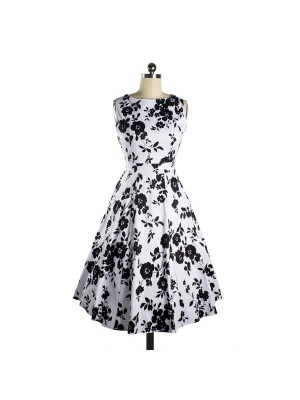 Womens 1950s Printing Floral Rockabilly Swing Vintage Dresses Party Dress black