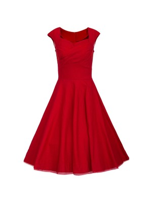 Womens 1950s V Neck Vintage Cut Out Retro Party Cocktail Dresses CF1227