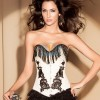 Women Fashion White Tassel Covered Overbust Jacquard Weave Side Corset CF5146 White