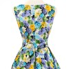 50s 60s Vintage Rockabilly Swing Picnic Party Beauty Ball Dress Floral CF1008 Yellow Floral_06