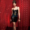 Black Wet Look PVC Vinyl With Cups Halter Overbust Corset Dress CF5315_02